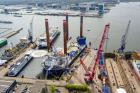In April the jack-up vessel Sea Installer took her position alongside lay-by berth number 1 at Damen Shiprepair Amsterdam for modification and maintenance work. (Photo: DSAm)