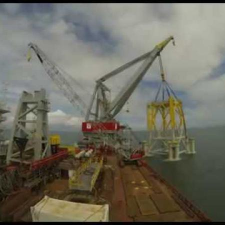 Offshore substation installation at Westermost Rough Offshore Wind Farm