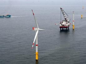 Installation of first Senvion turbine at Nordsee One was completed according to schedule. (Photo: innogy SE)
