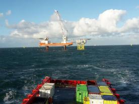 Supply vessel of Rhenus on its way to the offshore platform. (Photo: Rhenus SE & Co. KG)