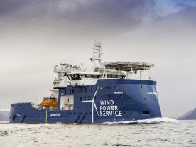 Length 88 m, beam 18 m, speed 13.5 knots: The SOV Windea Leibniz from Ulstein Verft will work at the Sandbank wind farm. (Photo: Ulstein Group / Eide Studio)