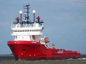 """The """"Lev Twister"""" is a dynamic positioning vessel of 75 m. Photo: Christian Eckardt, Maritim Publication / Innoven"""