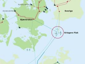 In close partnership with their regional neighbours, Sweden and Germany, the Kriegers Flak area in the Baltic Sea has been chosen as international interconnector through offshore wind farms. (Graphic: energinet.dk)
