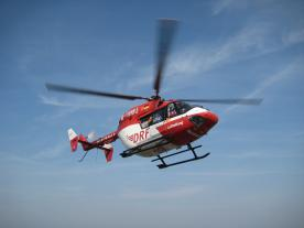 A BK 117-C1 helicopter, which belongs to DRF Air Rescue, is stationed on the island of Rügen around the clock to respond to emergencies at the Baltic 1 and 2 wind farms.