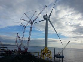 The world's largest and most powerful offshore wind turbine is now standing at Energy Park Fife.