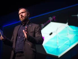 Sebastian Bringsværd, head of Hywind Development in Statoil, at Statoil's Autumn Conference 2017. (Photo: Ole Jørgen Bratland)