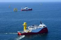 Special purpose vessels in operation for the laying of 70 kilometers of inter-array cables at Nordsee One. (Photo: RWE International SE)