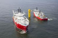 The 59 inter-array cables for offshore wind farm Nordsee One have been installed successfully with the help of the vessels Siem Aimery (shown on the left) and Siem Moxie (on the right). (Photo: SIEM Offshore Contractors GmbH)