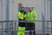 Jan Hattermann, Senior Manager Port & Logistics Services at EMS Maritime Offshore, Stephan Kremers, Commissioning Project Manager of MHI Vestas Offshore (Photo: EMO)