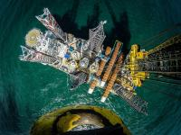 The installation of the foundations for offshore wind farm Sandbank. (Photo: Vattenfall / Ulrich Wirrwa)