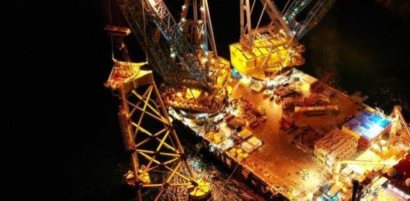 The first turbine jacket foundation is installed at the Seagreen Wind Farm site, 27 kilometres off the coast of the county of Angus in Scotland (pict: SSE Renewables)